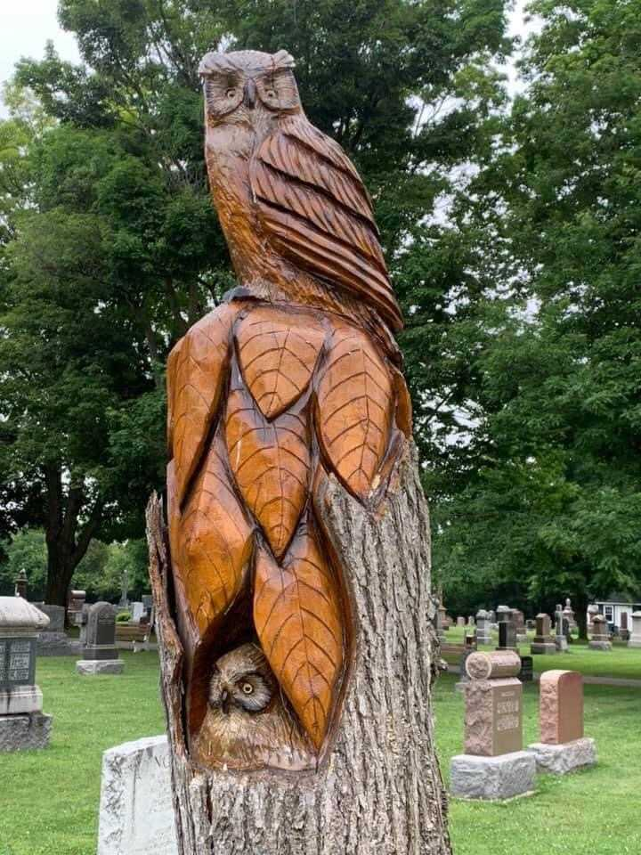 These carvings are done by Milton man, Jim Menkens are located at Evergreen Cemetery and photographed by Tom Clarke in Milton, Ontario, Canada.